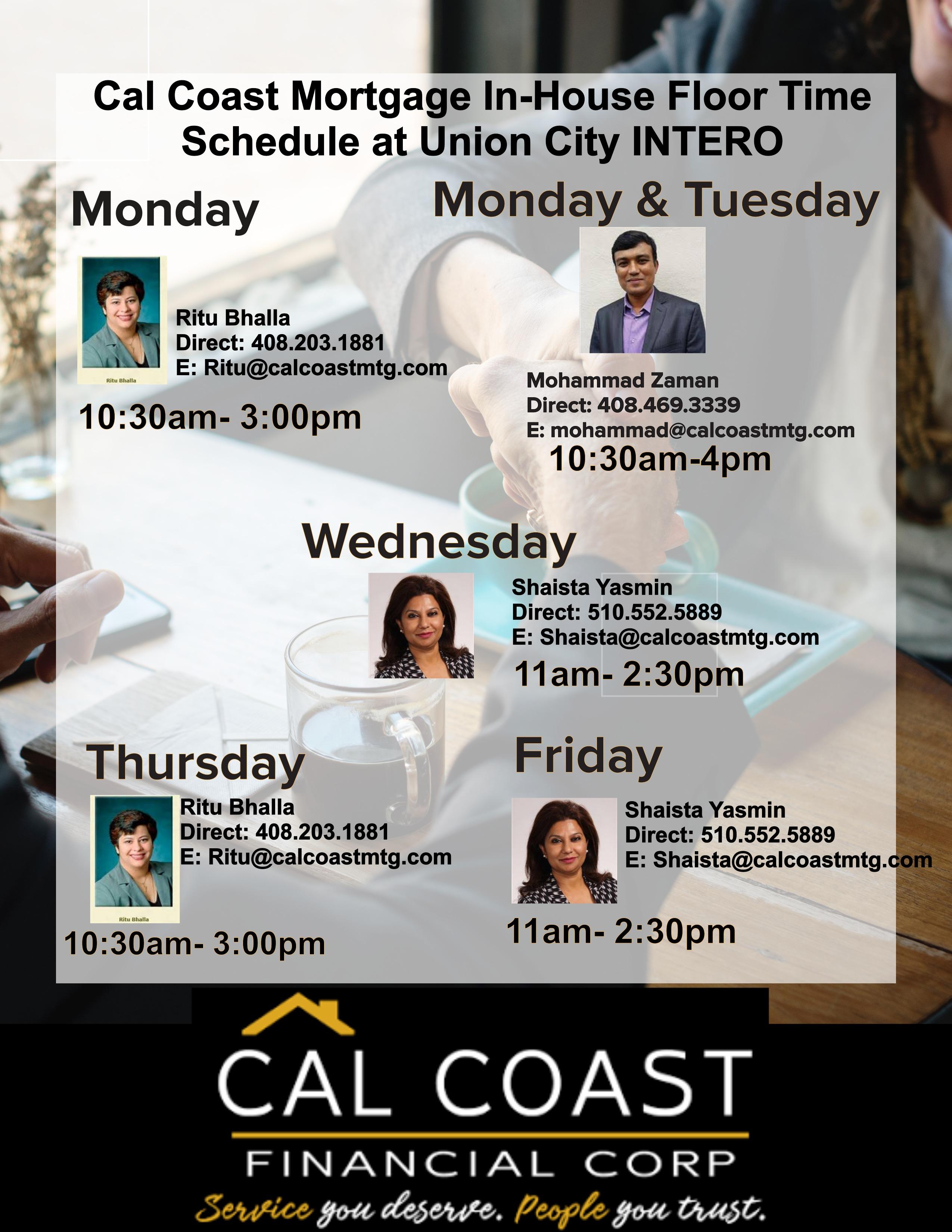 Cal Coast Mtg Floor Time Cara L Milgate